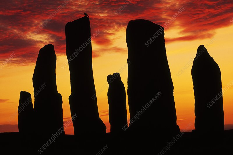 Megaliths at sunset, Callanish, Scotland