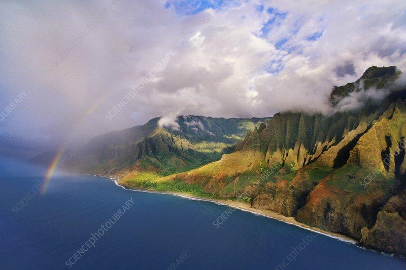 Rainbow over Na Pali coast, aerial view
