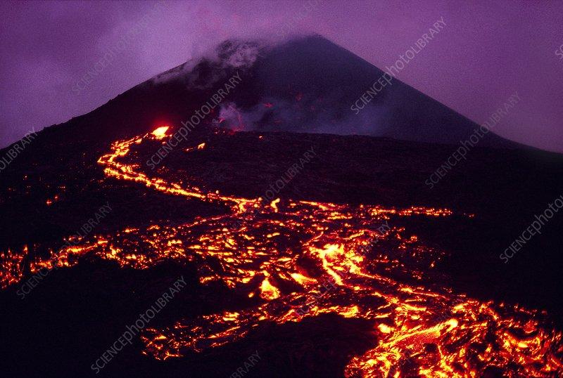 Volcano erupting, an aerial view, Hawaii