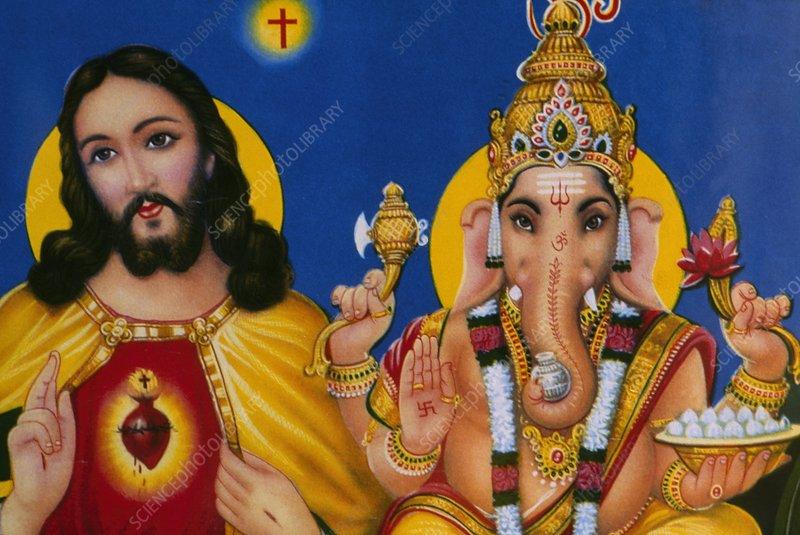 Jesus and Ganesha on poster, India