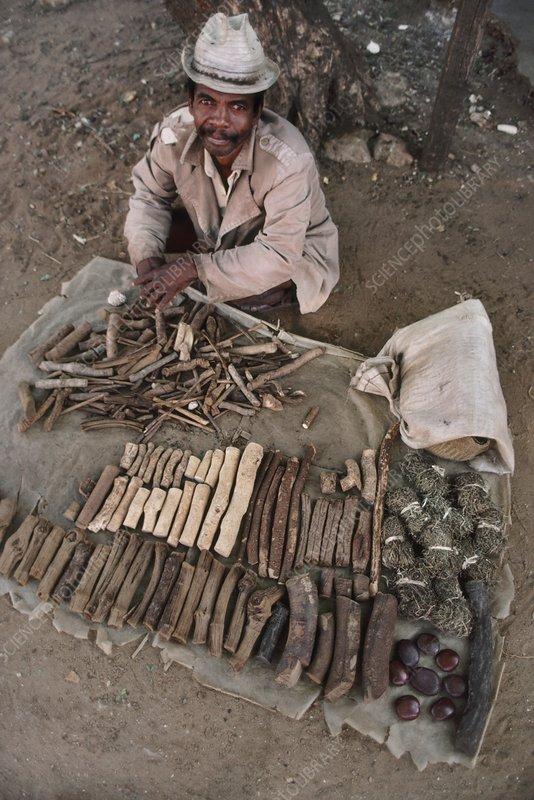 Man selling medicinal plants, Ambovombe