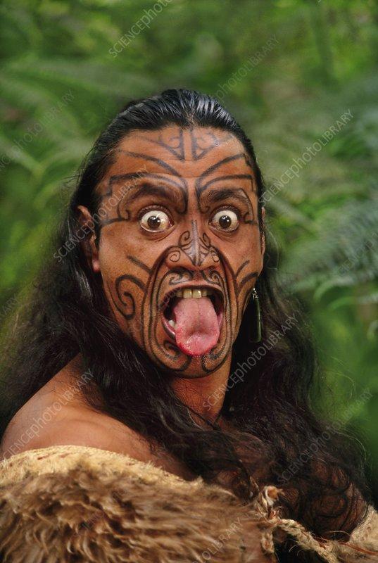Maori man in kiwi cloak, New Zealand