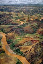 Deforested hills and river, Madagascar