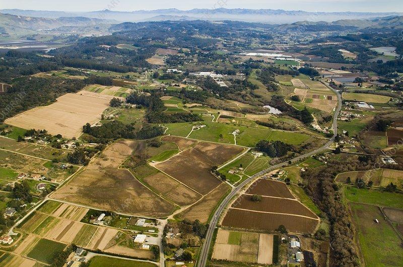 Coastal farmland, aerial view, California