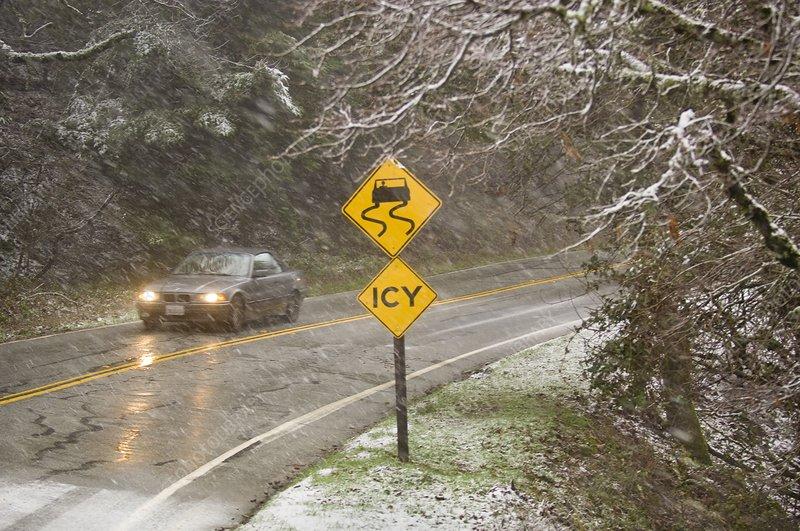 Snow on highway, California