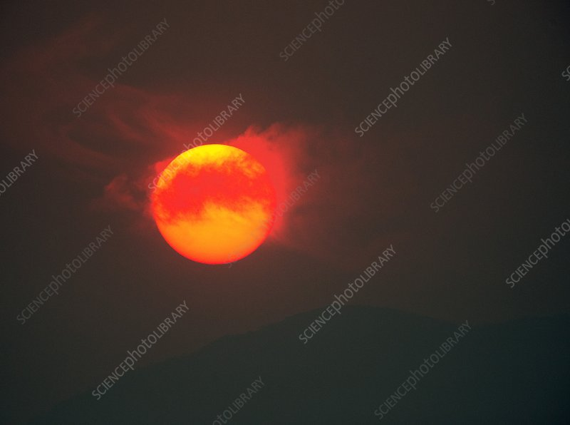Sun setting behind smoke from bushfires