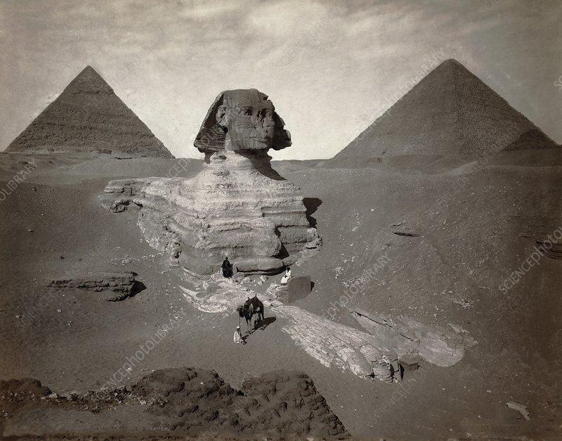 Sphinx, Egyptian pyramids, 19th century