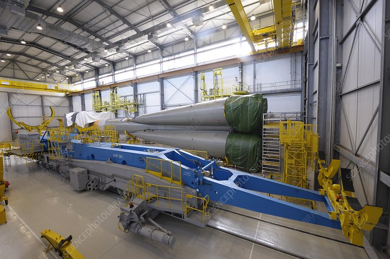 Soyuz rocket assembly, French Guiana