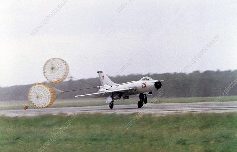 Sukhoi Su-7 aircraft landing