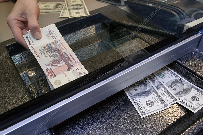 Bank notes at a currency exchange