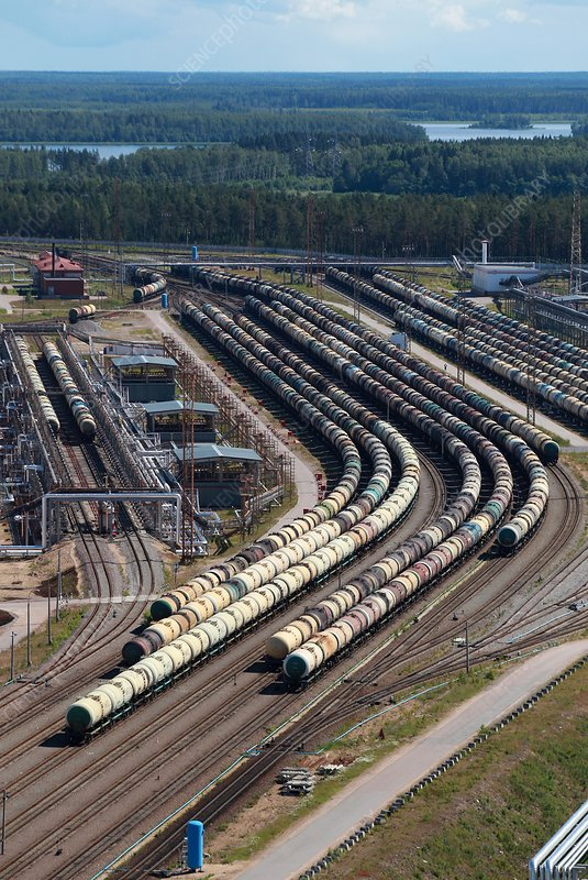 Railway yard with oil tanker carriages