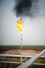 Gas flare in an oil field