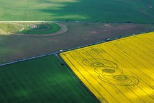 Stonehenge and crop circles, aerial view