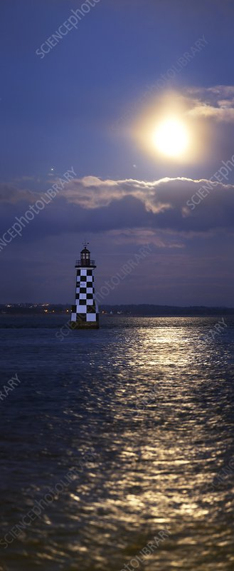 Full moon and Jupiter over a lighthouse