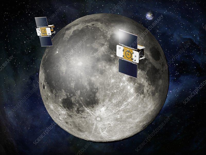 GRAIL spacecraft over the Moon, artwork