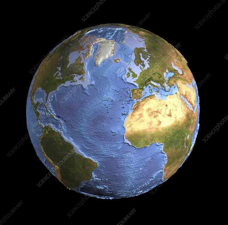 Atlantic Ocean Sea Floor Topography Stock Image C016 3725