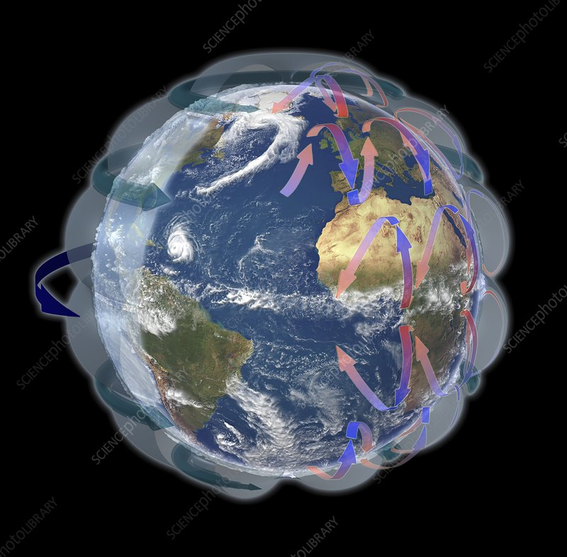 Global Winds  Satellite-based Diagram - Stock Image C016  3731