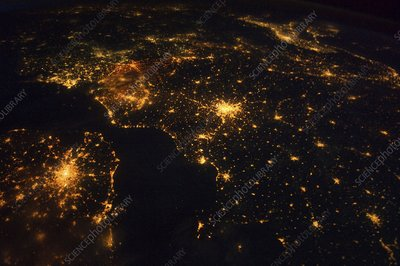 North-western Europe at night, ISS image