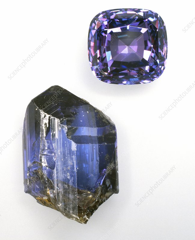 Tanzanite crystal and gemstone