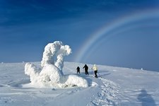 Fogbow and snowy landscape