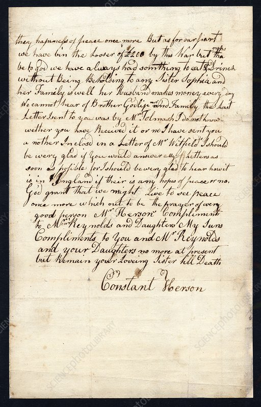Sowerby family letter, 18th century