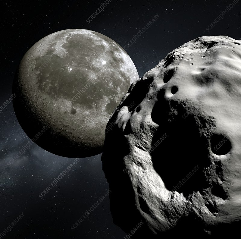 Asteroid Apophis and the Moon, artwork - Stock Image C016 ...
