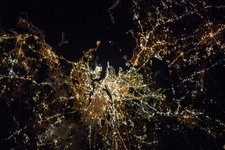 Boston at night, ISS image