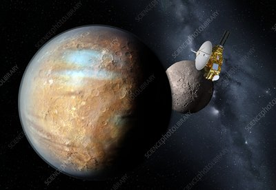 New Horizons spacecraft at Pluto, artwork