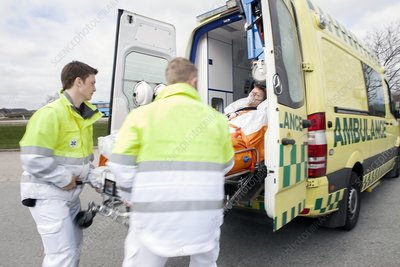 Cardiac patient in an ambulance