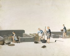 Making cast iron pans, 19th-century China