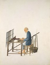 Making smoking pipes, 19th-century China