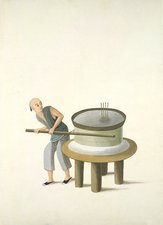 Grinding flour, 19th-century China