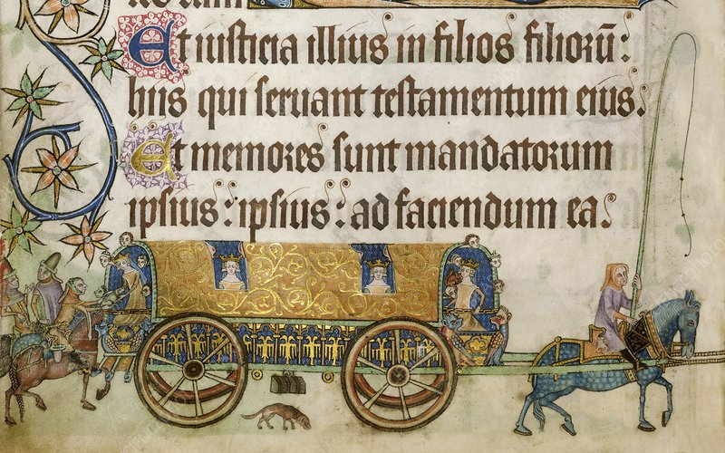 Medieval royal coach, Luttrell Psalter