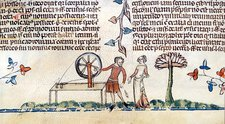Spinning wheel, 14th-century manuscript