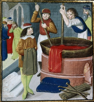 Dyeing cloth, 15th-century manuscript
