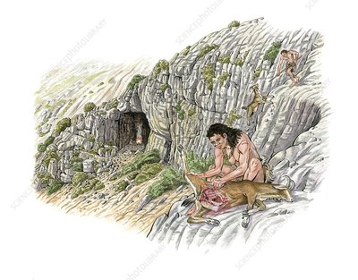 Palaeolithic goat hunting, artwork