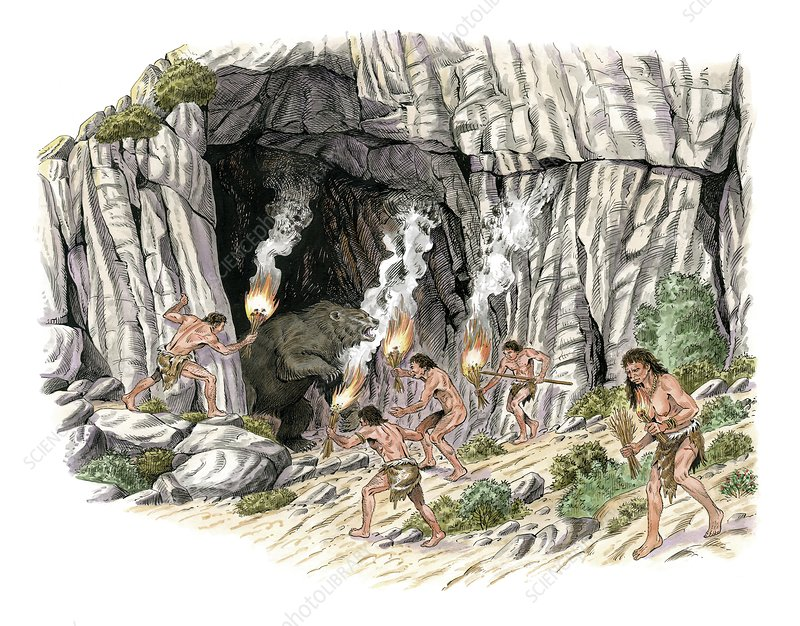 Palaeolithic humans and bears, artwork