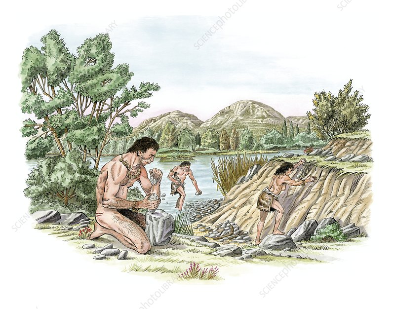 Palaeolithic stone tool making, artwork