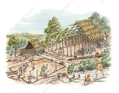 Bronze Age house building, artwork