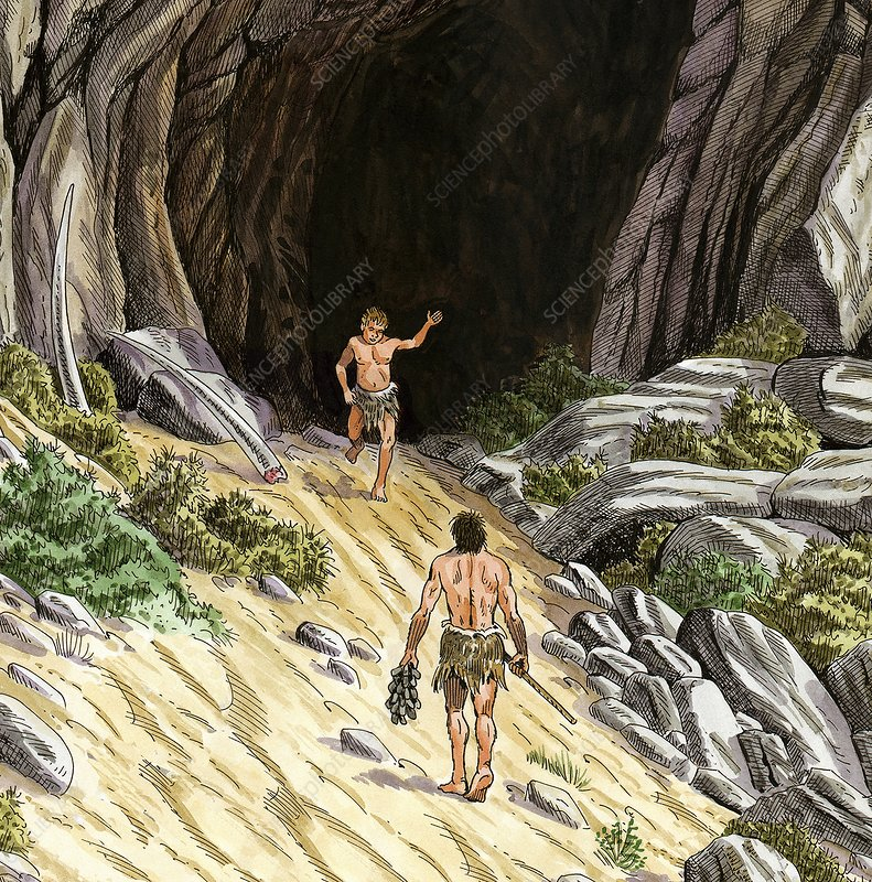 Palaeolithic cave dwellers, artwork