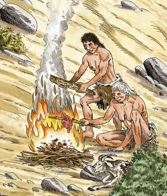 Palaeolithic cooking fire, artwork