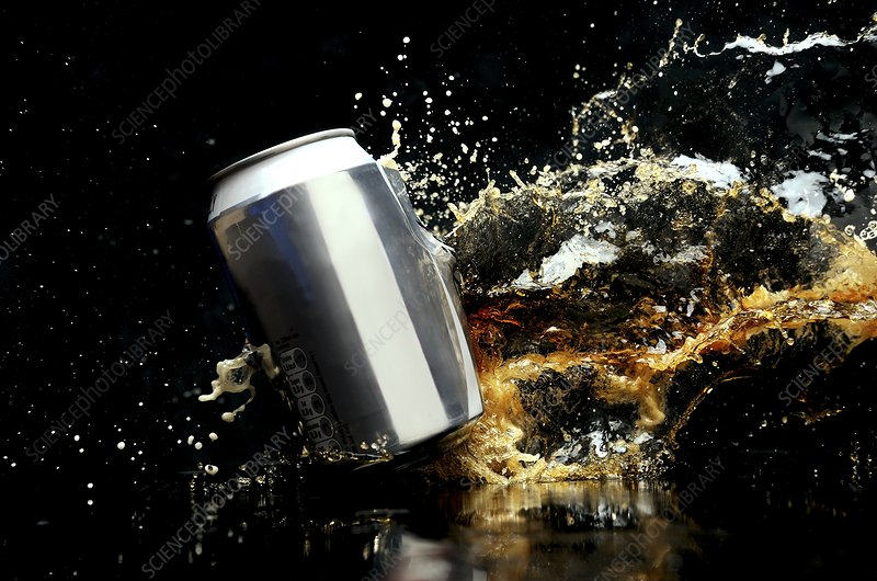 Exploding drinks can, high-speed image