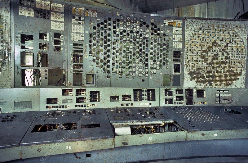 Chernobyl reactor 4 control panel - Stock Image - C016 ...