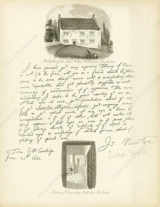 Newton's birthplace and 1682 letter