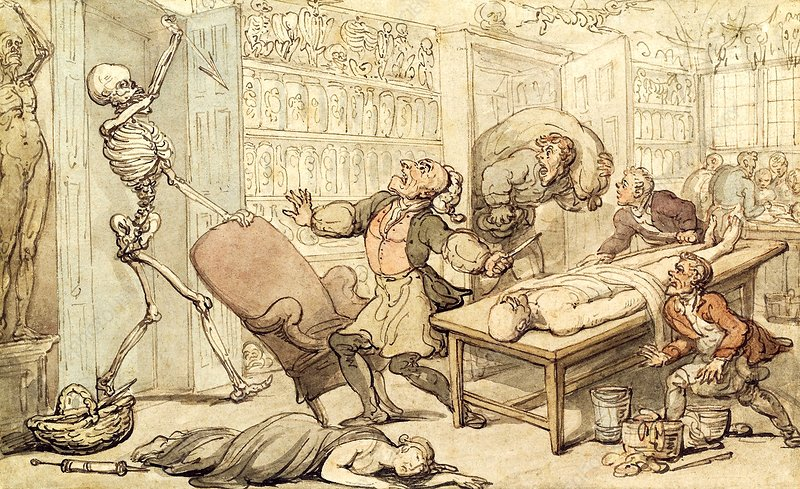Death in the dissecting room, 1816