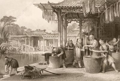 Dyeing and winding silk in China, 1840s
