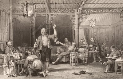 Opium smokers in China, 1840s
