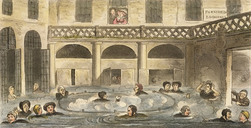 King's Bath hot spring at Bath, 1820s