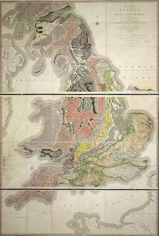 First geological map of Britain, 1815 - Stock Image - C016 ... on blank map of britain, political map of britain, physical map of britain,