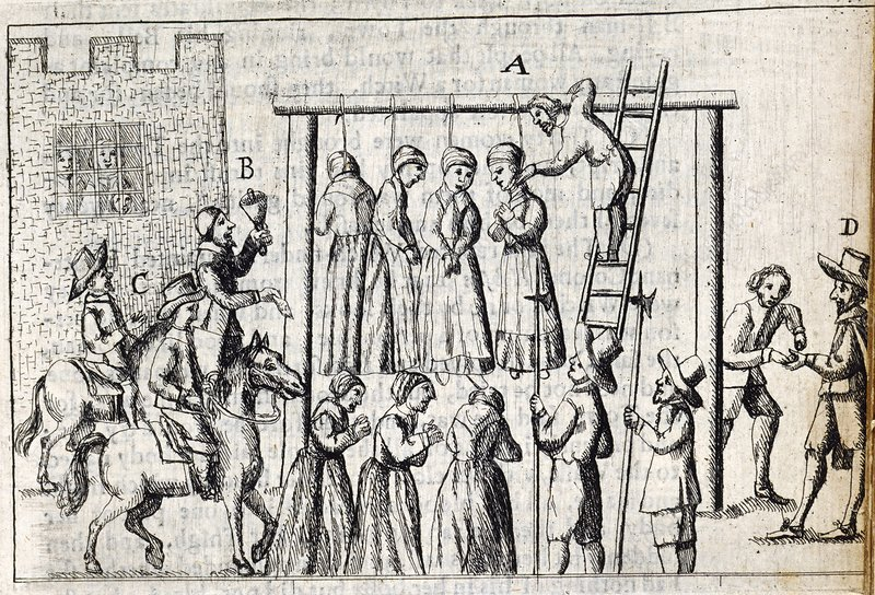 Hanging of witches, 17th century